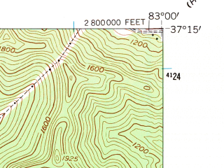 Reduced fragment of topographic map en--usgs--024k--046859--(1954)--N037-15-00_W083-07-30--N037-07-30_W083-00-00; towns and cities Vicco