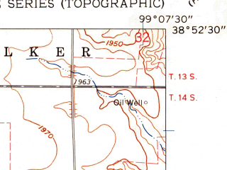 Reduced fragment of topographic map en--usgs--024k--046883--(1961)--N038-52-30_W099-15-00--N038-45-00_W099-07-30; towns and cities Victoria