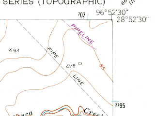 Reduced fragment of topographic map en--usgs--024k--046884--(1952)--N028-52-30_W097-00-00--N028-45-00_W096-52-30; towns and cities Victoria