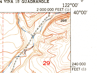 Reduced fragment of topographic map en--usgs--024k--046943--(1951)--N040-00-00_W122-07-30--N039-52-30_W122-00-00
