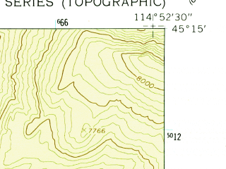 Reduced fragment of topographic map en--usgs--024k--046956--(1962)--N045-15-00_W115-00-00--N045-07-30_W114-52-30