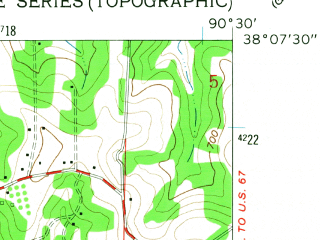 Reduced fragment of topographic map en--usgs--024k--046960--(1960)--N038-07-30_W090-37-30--N038-00-00_W090-30-00