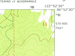 Reduced fragment of topographic map en--usgs--024k--046982--(1959)--N046-52-30_W123-00-00--N046-45-00_W122-52-30