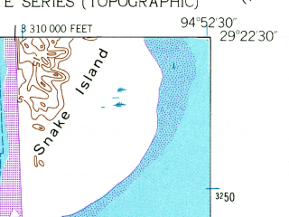 Reduced fragment of topographic map en--usgs--024k--047001--(1954)--N029-22-30_W095-00-00--N029-15-00_W094-52-30; towns and cities La Marque, Bayou Vista, Tiki Island