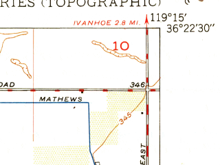 Reduced fragment of topographic map en--usgs--024k--047004--(1950)--N036-22-30_W119-22-30--N036-15-00_W119-15-00; towns and cities Visalia