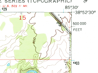 Reduced fragment of topographic map en--usgs--024k--047028--(1956)--N038-52-30_W085-37-30--N038-45-00_W085-30-00