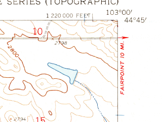 Reduced fragment of topographic map en--usgs--024k--047036--(1959)--N044-45-00_W103-07-30--N044-37-30_W103-00-00