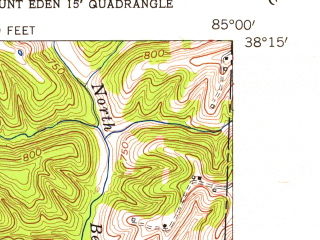 Reduced fragment of topographic map en--usgs--024k--047092--(1954)--N038-15-00_W085-07-30--N038-07-30_W085-00-00