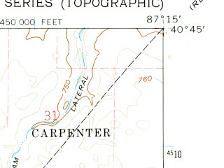 Reduced fragment of topographic map en--usgs--024k--047098--(1962)--N040-45-00_W087-22-30--N040-37-30_W087-15-00