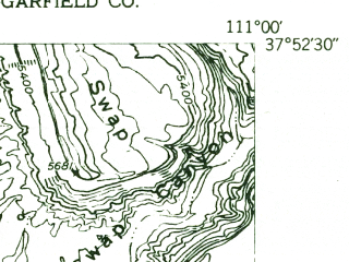 Reduced fragment of topographic map en--usgs--024k--047130--(1953)--N037-52-30_W111-07-30--N037-45-00_W111-00-00