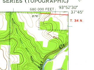 Reduced fragment of topographic map en--usgs--024k--047141--(1956)--N037-45-00_W094-00-00--N037-37-30_W093-52-30