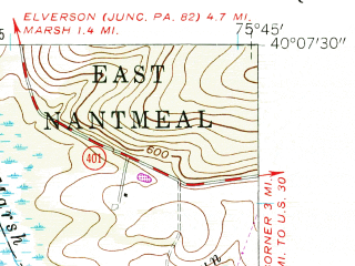 Reduced fragment of topographic map en--usgs--024k--047148--(1956)--N040-07-30_W075-52-30--N040-00-00_W075-45-00