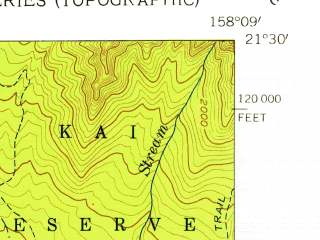 Reduced fragment of topographic map en--usgs--024k--047174--(1954)--N021-30-00_W158-16-30--N021-22-30_W158-08-60; towns and cities Maili, Makaha, Nanakuli, Makaha Valley