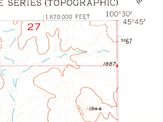 Reduced fragment of topographic map en--usgs--024k--047208--(1956)--N045-45-00_W100-37-30--N045-37-30_W100-30-00