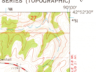 Reduced fragment of topographic map en--usgs--024k--047241--(1962)--N042-52-30_W090-07-30--N042-45-00_W090-00-00