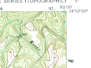 Reduced fragment of topographic map en--usgs--024k--047247--(1959)--N034-52-30_W083-07-30--N034-45-00_W083-00-00; towns and cities Walhalla, West Union