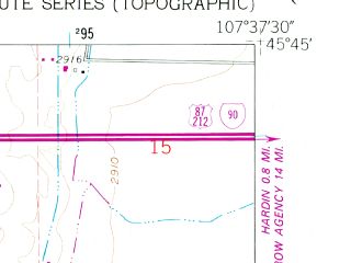 Reduced fragment of topographic map en--usgs--024k--047266--(1960)--N045-45-00_W107-45-00--N045-37-30_W107-37-30
