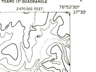 Reduced fragment of topographic map en--usgs--024k--047276--(1953)--N037-30-00_W077-00-00--N037-22-30_W076-52-30