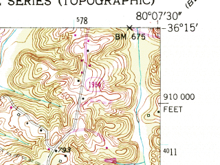 Reduced fragment of topographic map en--usgs--024k--047280--(1951)--N036-15-00_W080-15-00--N036-07-30_W080-07-30; towns and cities Walkertown