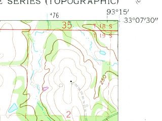 Reduced fragment of topographic map en--usgs--024k--047281--(1960)--N033-07-30_W093-22-30--N033-00-00_W093-15-00