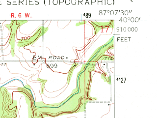 Reduced fragment of topographic map en--usgs--024k--047303--(1961)--N040-00-00_W087-15-00--N039-52-30_W087-07-30; towns and cities Wallace