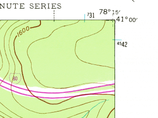 Reduced fragment of topographic map en--usgs--024k--047320--(1945)--N041-00-00_W078-22-30--N040-52-30_W078-15-00; towns and cities Wallaceton
