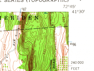 Reduced fragment of topographic map en--usgs--024k--047328--(1954)--N041-30-00_W072-52-30--N041-22-30_W072-45-00; towns and cities North Haven, Wallingford Center