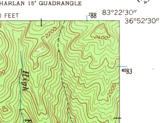 Reduced fragment of topographic map en--usgs--024k--047329--(1954)--N036-52-30_W083-30-00--N036-45-00_W083-22-30; towns and cities South Wallins, Wallins Creek