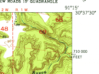 Reduced fragment of topographic map en--usgs--024k--047334--(1954)--N030-37-30_W091-22-30--N030-30-00_W091-15-00