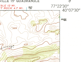 Reduced fragment of topographic map en--usgs--024k--047343--(1952)--N040-07-30_W077-30-00--N040-00-00_W077-22-30