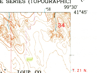 Reduced fragment of topographic map en--usgs--024k--047393--(1951)--N041-45-00_W099-37-30--N041-37-30_W099-30-00