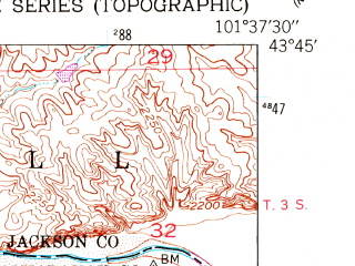 Reduced fragment of topographic map en--usgs--024k--047404--(1951)--N043-45-00_W101-45-00--N043-37-30_W101-37-30