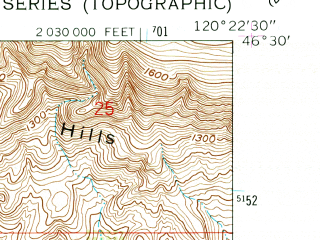 Reduced fragment of topographic map en--usgs--024k--047422--(1958)--N046-30-00_W120-30-00--N046-22-30_W120-22-30; towns and cities Wapato