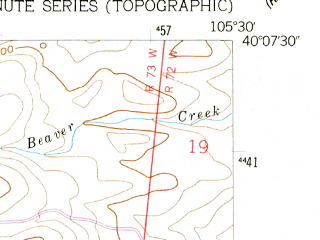 Reduced fragment of topographic map en--usgs--024k--047441--(1957)--N040-07-30_W105-37-30--N040-00-00_W105-30-00; towns and cities Ward