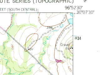 Reduced fragment of topographic map en--usgs--024k--047449--(1962)--N030-07-30_W097-00-00--N030-00-00_W096-52-30