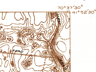 Reduced fragment of topographic map en--usgs--024k--047462--(1935)--N041-52-30_W070-45-00--N041-45-00_W070-37-30; towns and cities Wareham Center, White Island Shores