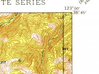 Reduced fragment of topographic map en--usgs--024k--047484--(1943)--N038-45-00_W123-07-30--N038-37-30_W123-00-00 in area of Lake Sonoma