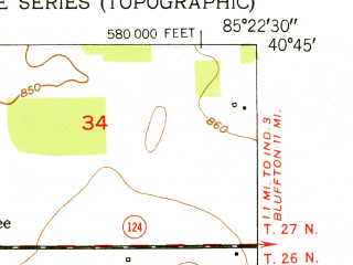 Reduced fragment of topographic map en--usgs--024k--047509--(1952)--N040-45-00_W085-30-00--N040-37-30_W085-22-30; towns and cities Warren