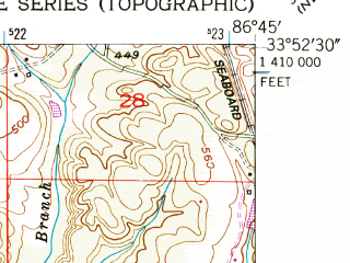 Reduced fragment of topographic map en--usgs--024k--047540--(1951)--N033-52-30_W086-52-30--N033-45-00_W086-45-00; towns and cities Warrior, Kimberly, Morris
