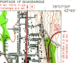 Reduced fragment of topographic map en--usgs--024k--047551--(1943)--N042-45-00_W078-15-00--N042-37-30_W078-07-30; towns and cities Gainesville, Warsaw