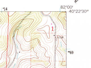 Reduced fragment of topographic map en--usgs--024k--047553--(1962)--N040-22-30_W082-07-30--N040-15-00_W082-00-00; towns and cities Nellie, Warsaw