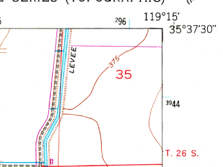 Reduced fragment of topographic map en--usgs--024k--047565--(1953)--N035-37-30_W119-22-30--N035-30-00_W119-15-00; towns and cities Wasco, Shafter