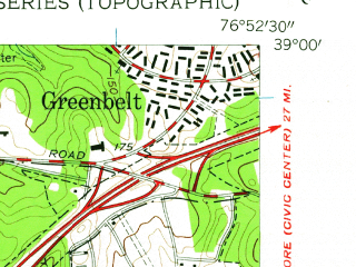 Reduced fragment of topographic map en--usgs--024k--047599--(1957)--N039-00-00_W077-00-00--N038-52-30_W076-52-30; towns and cities Greenbelt, Chillum, College Park, East Riverdale, Hyattsville