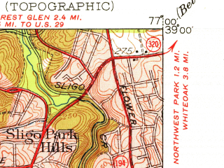 Reduced fragment of topographic map en--usgs--024k--047611--(1951)--N039-00-00_W077-07-30--N038-52-30_W077-00-00; towns and cities Washington, Arlington, Bethesda, Takoma Park, Chevy Chase