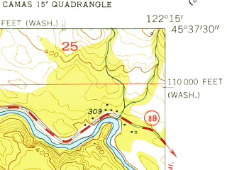 Reduced fragment of topographic map en--usgs--024k--047616--(1954)--N045-37-30_W122-22-30--N045-30-00_W122-15-00; towns and cities Washougal
