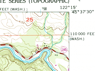 Reduced fragment of topographic map en--usgs--024k--047616--(1961)--N045-37-30_W122-22-30--N045-30-00_W122-15-00; towns and cities Washougal