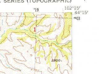 Reduced fragment of topographic map en--usgs--024k--047627--(1954)--N044-15-00_W102-22-30--N044-07-30_W102-15-00