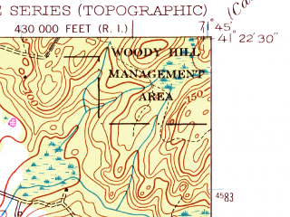 Reduced fragment of topographic map en--usgs--024k--047633--(1953)--N041-22-30_W071-52-30--N041-15-00_W071-45-00; towns and cities Westerly