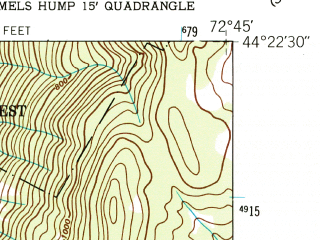 Reduced fragment of topographic map en--usgs--024k--047653--(1948)--N044-22-30_W072-52-30--N044-15-00_W072-45-00; towns and cities Waterbury