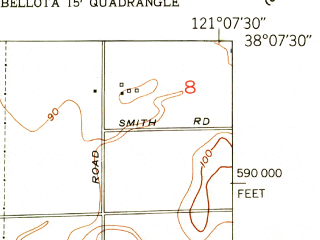 Reduced fragment of topographic map en--usgs--024k--047675--(1953)--N038-07-30_W121-15-00--N038-00-00_W121-07-30; towns and cities Morada